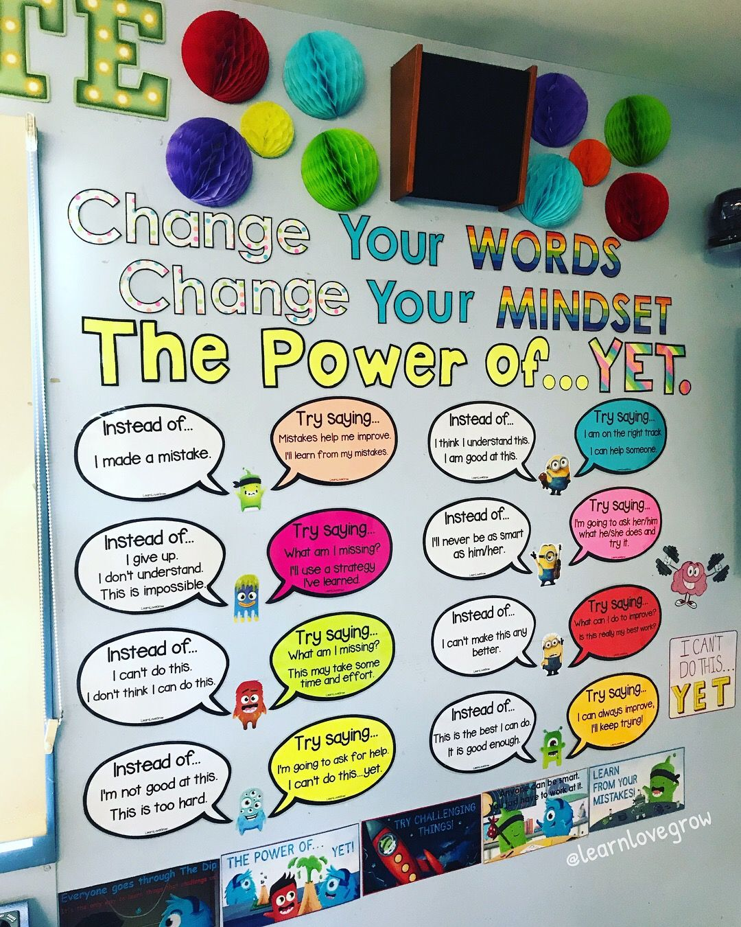 Growth Mindset Change Your Words Change Your Mindset Change Your Mindset Growth Mindset Growth Mindset Bulletin Board
