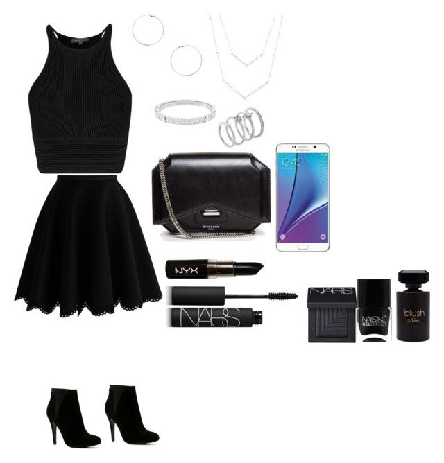 """Back 2 Black!"" by minadinamike on Polyvore featuring Chicwish, ALDO, Givenchy, NYX, NARS Cosmetics, Forever 21, Dorothy Perkins, Michael Kors, Vince Camuto and Nails Inc."