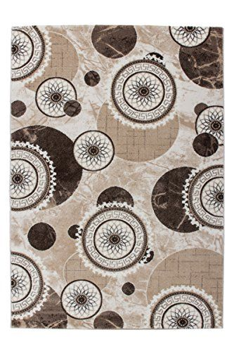 Lalee 347253357 Hochwertiger Designer Teppich mit mellierten Kreisen - Teppich Wohnzimmer Braun