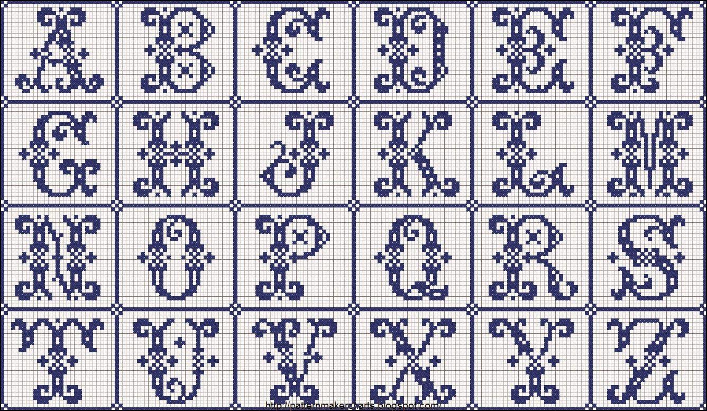 Schemi gratis da realizzare a filet punto croce maglia for Ricamo punto croce alfabeto