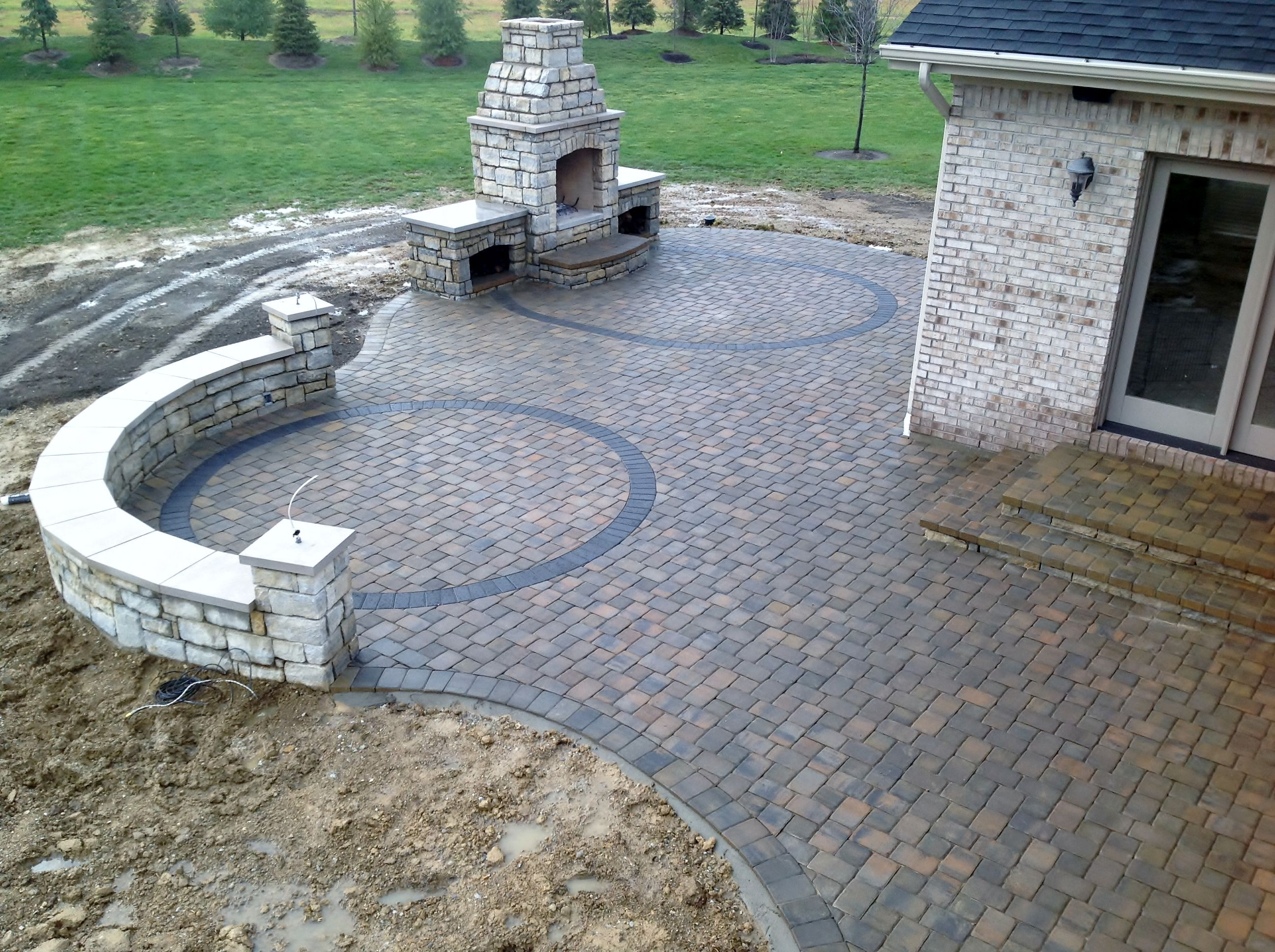 Paver Patio Natural Stone Seating Wall Outdoor Fireplace