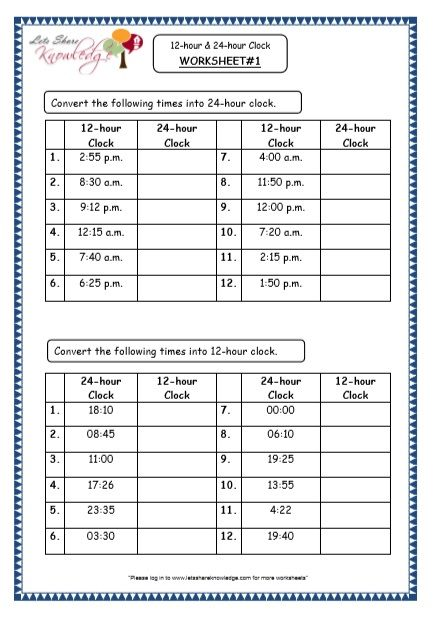 Time 12hour & 24hour Clock Printable Worksheets