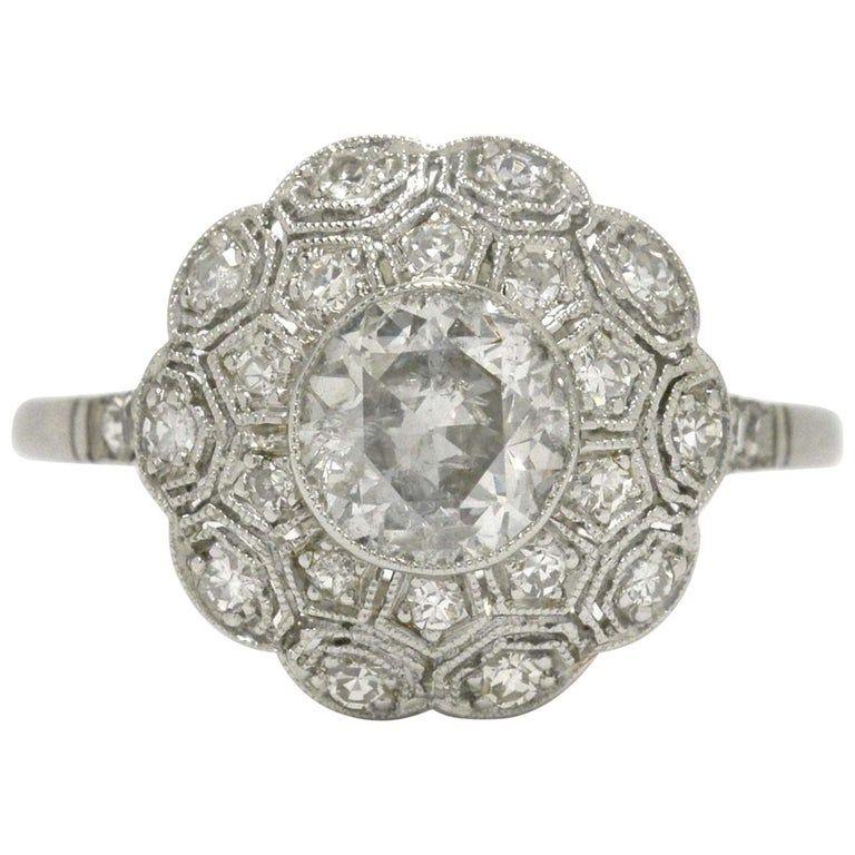 Photo of Old European Diamond Art Deco Style Filigree Flower Cluster Engagement Ring
