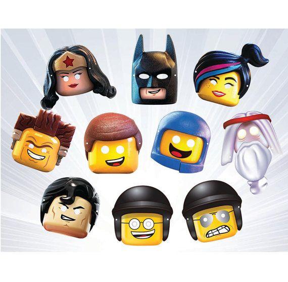 LEGO 10 Masks Printable PDF by ArtBlackPrint on Etsy