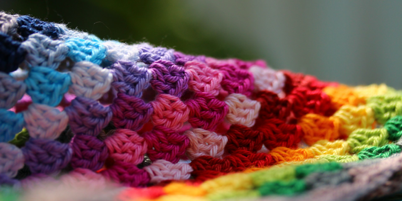 this Rainbow Granny Square Blanket is my first-made crocket blanket =D