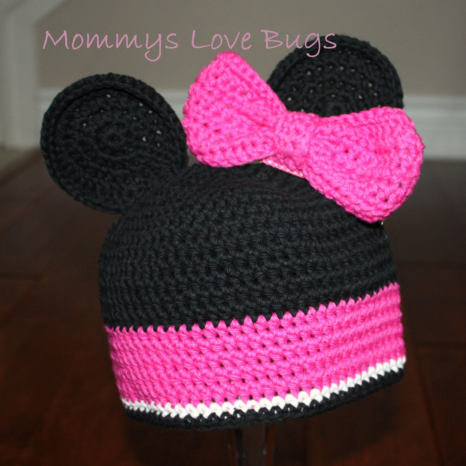 Minnie Mouse inspired Crochet Hat with Ears and by MommysLoveBugs, $21.00