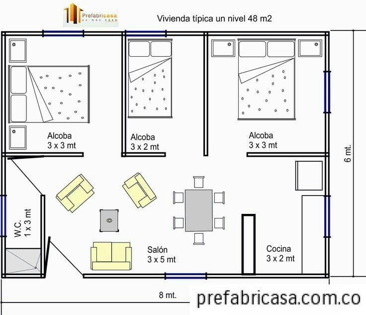 Apartamento 48 m2 con tres cuartos planos en 2019 for Diseno de apartamento de una habitacion
