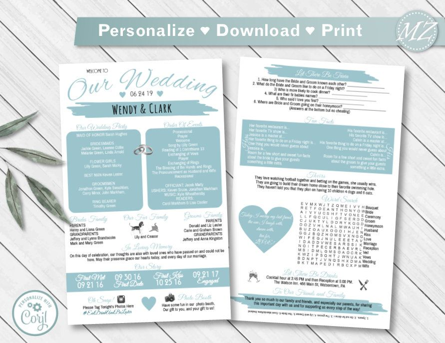 Fun Infographic Wedding Program Template 5x8 2sides Etsy In 2020 Wedding Programs Template Wedding Infographic Wedding Programs