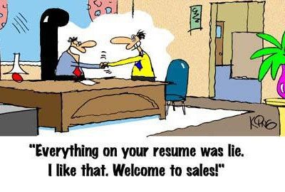 welcome to sales joke, everything on resime is a lie