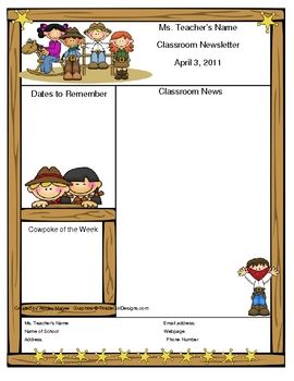 Teacher Newsletter Template - Western Cowboy Theme | Newsletter ...