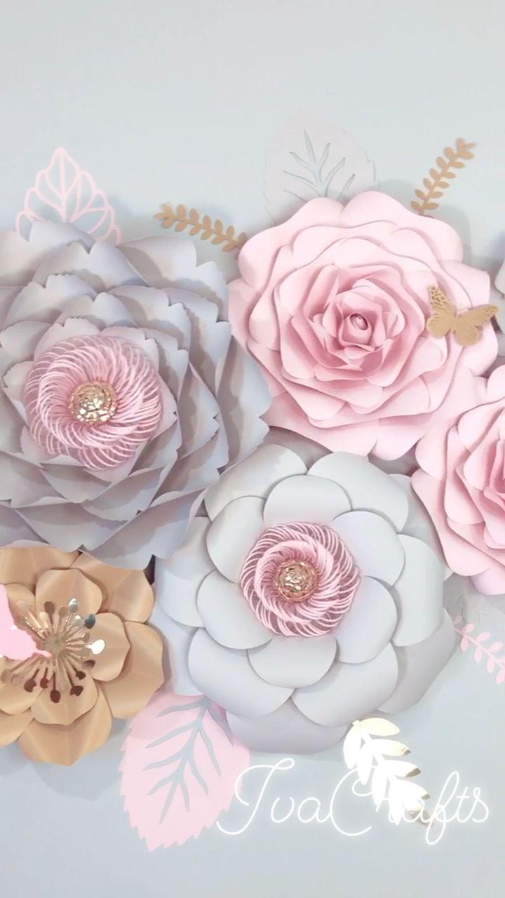 Large Paper Flowers Wall Decor Blush Grey Nursery Girl 3D | Etsy #easypaperflowers