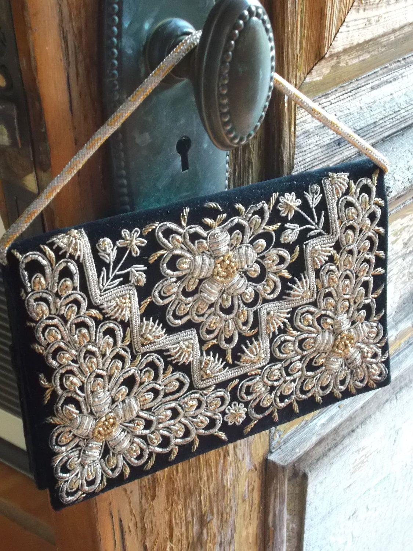 Black Velvet Clutch Embroidered Vintage Purse Zardosi Metal India ...