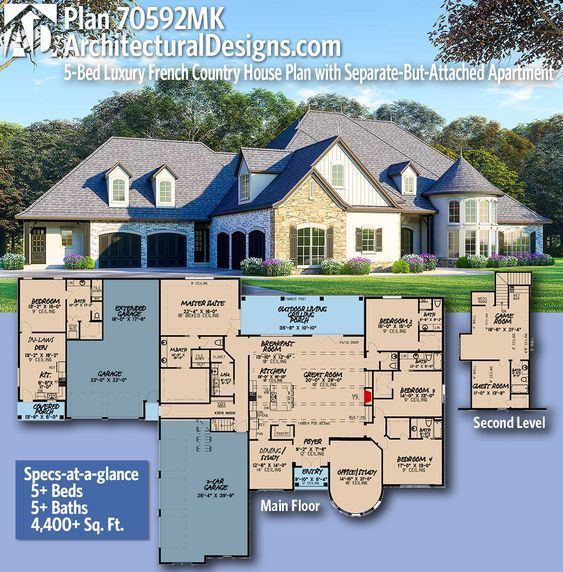 Plan 70592mk 5 Bed Luxury French Country House Plan With Separate But Attached Apartment In 2021 French Country House Plans House Layout Plans Multigenerational House Plans
