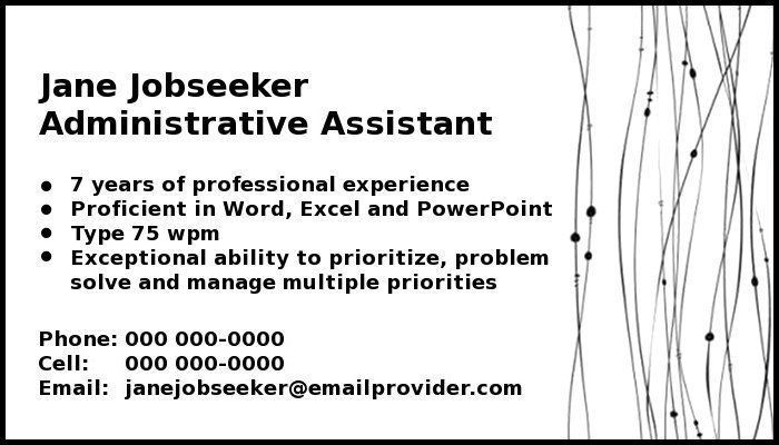 calling card for work Work