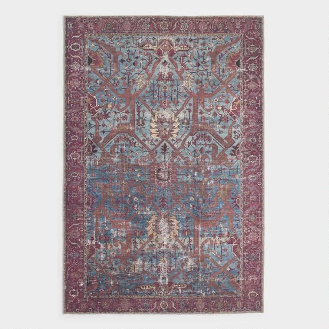 Blue And Red Patterned Phoenix Area Rug Area Rugs Unique Rugs Rugs