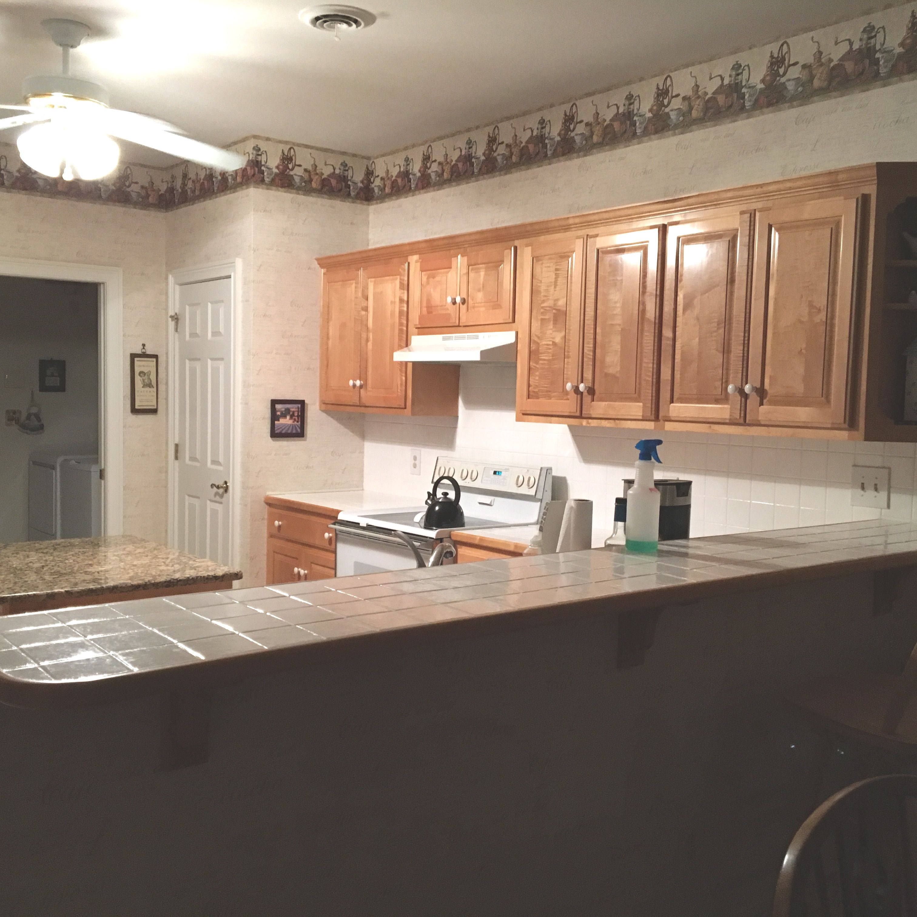 What the kitchen looked like before reno started white