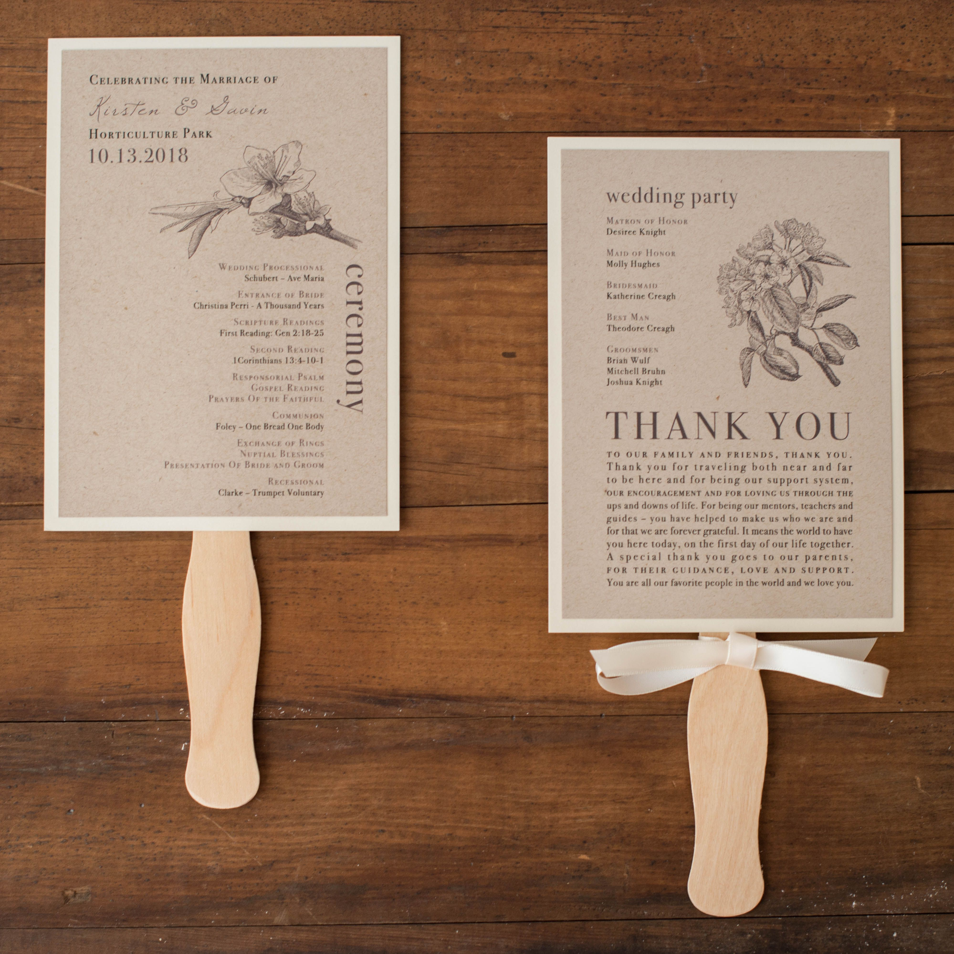 Looking for a personalized look? With the Rustic Magnolia style, Beacon Lane offers a ceremony program fan that is customizable to match your wedding.