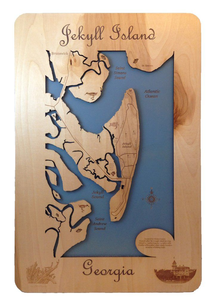 Jekyll Island Georgia Wood Laser Cut Map