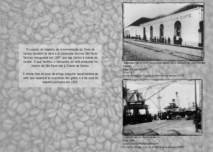 Movimentação beneficiamento e transporte do Porto de Santos - década 1900 e 1939 Arquivo: FAMS  Foto superior: A.D Foto inferior: Sophia Pretzel Waldheim