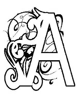 Printable Illuminated Letters Coloring Pages sketch