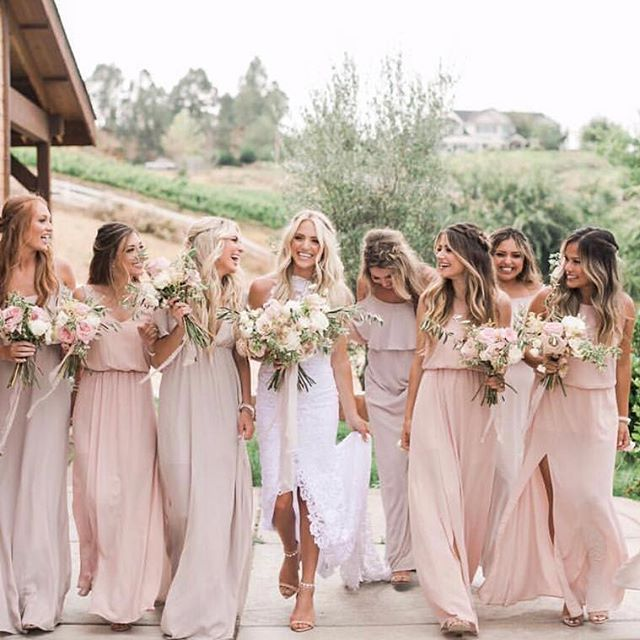 We Had So Much Fun Dressing Sav Labrant S Bridesmaids On Her Big Day Her Girls Wore Show Me The R Taupe Bridesmaid Dresses Mumu Bridesmaid Dresses Bridesmaid