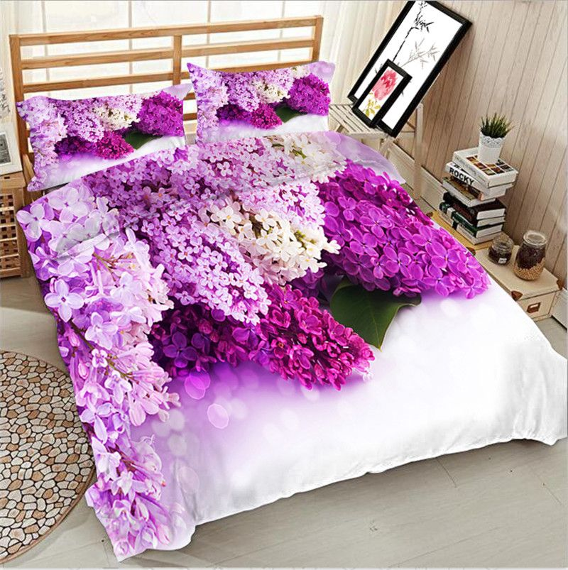 3d Lilacs Print Egyptian Cotton Full Queen King Double Size