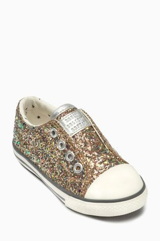 ultra glam Gold Laceless Trainers