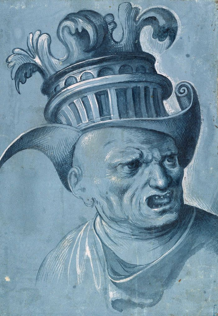 Attributed to Jacopo Ripanda | active 1490-1530 | Two Grotesque Heads of Men Wearing Fantastic Helmets (Detail) | The Morgan Library & Museum