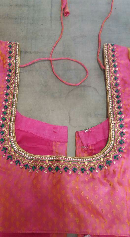 Simple Embroidery Simple Embroidery In 2019 Blouse Designs