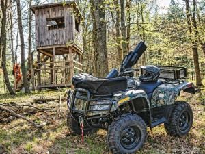 State regulations play an important part when using your ATV or Side x Side for hunting, and you should be familiar with the rules in your territory.  It's a lot cheaper to check first than to learn them from the local Conservation Officer.  In most areas, you can't shoot from an ATV or Side x Side without a medical exemption, although it's legal to steady yourself when shooting.  Just make sure your feet are firmly planted before you squeeze the trigger.