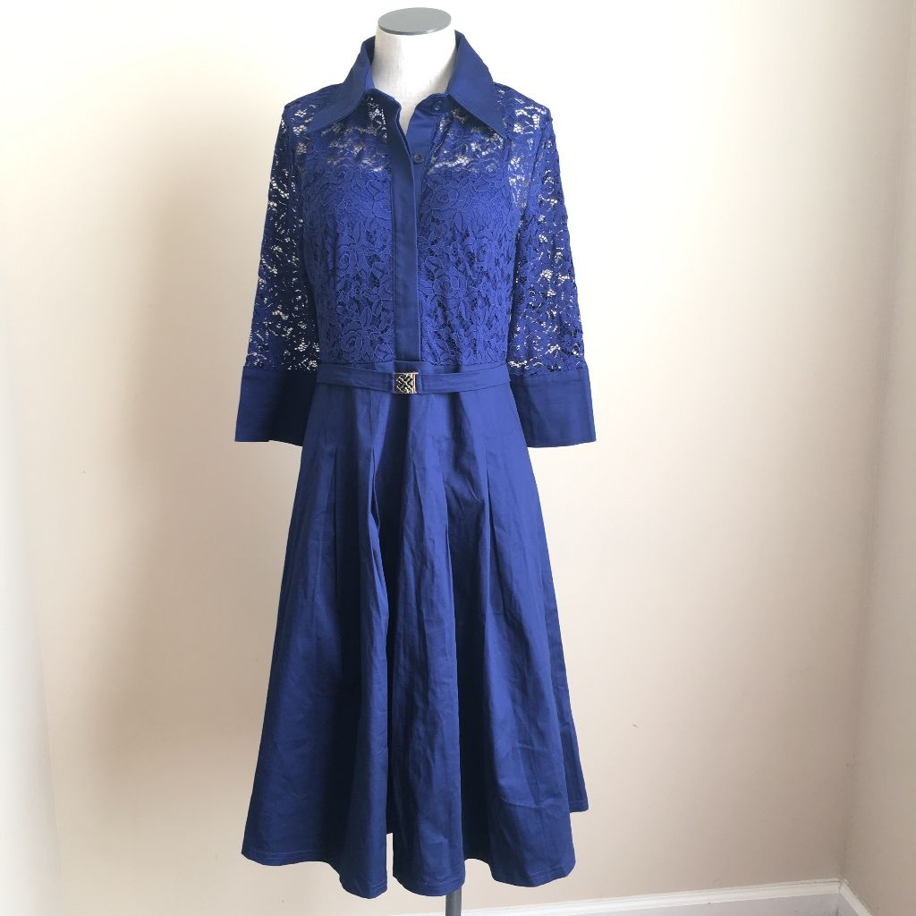 1950s lace dress  Missmay Vintage s Style Lace Flare Blue Dress  s style and
