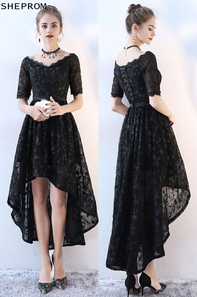 Only $88, Chic Lace High Low Black Homecoming Dress with Sleeves #BLS86045 at Sh...-#black #bls86045 #chic #dress #High #homecoming #Lace #sleeves #shortblackhomecomingdresses