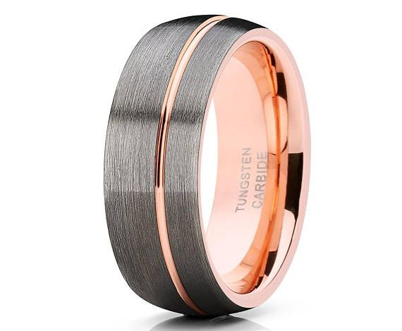 Gunmetal Tungsten Wedding Band Men S Rose Gold Tungsten Ring Rose Gold Tungsten Wedding Ring 18k Rose Gold Anniversary Ring His Hers In 2020 Mens Wedding Bands Tungsten Rose Gold Tungsten
