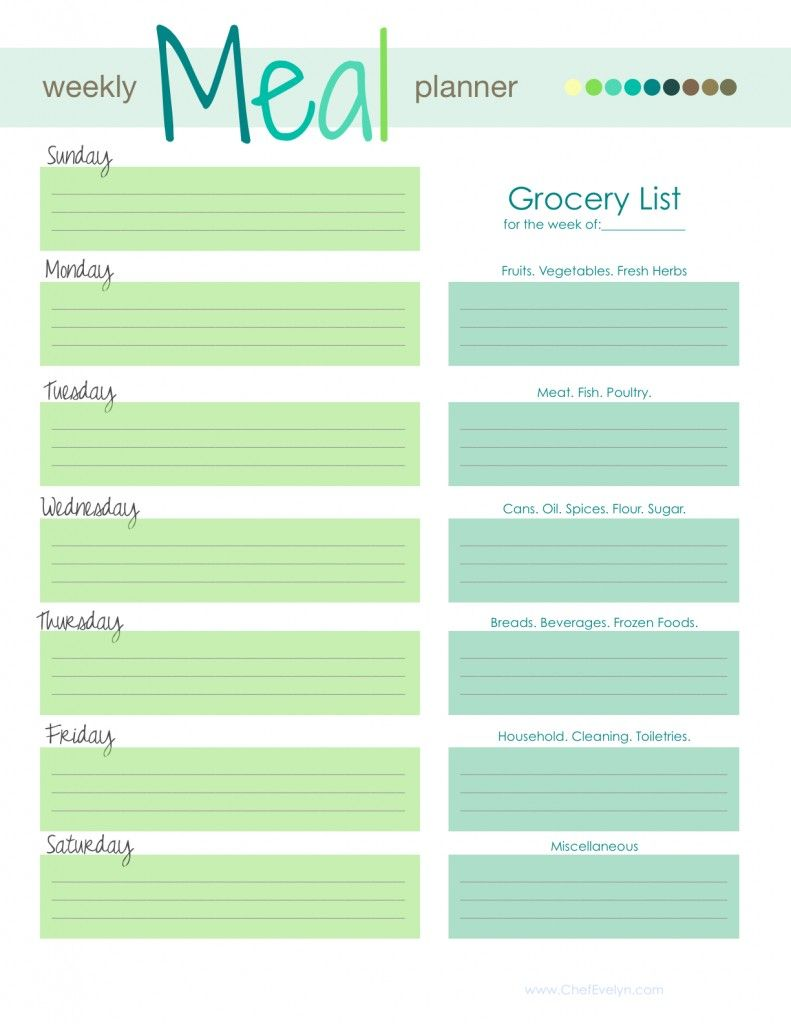 ChefEvelyn Weekly Meal Planner 2013 Food – Daily Menu Planner Template