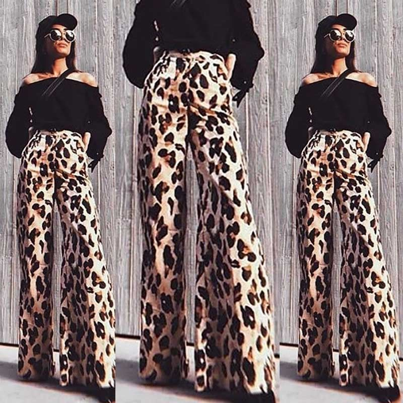 Womens Plain Palazzo Leopard Print Wide Leg Trousers Ladies Printed Flared Pants