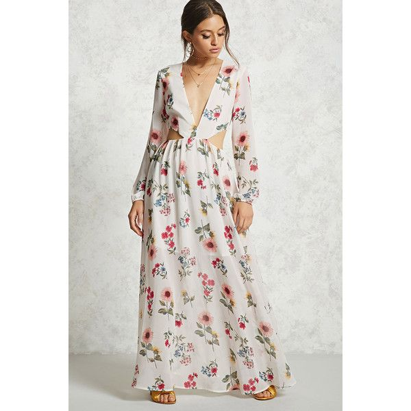 Forever21 Floral Cutout Maxi Dress 28 Liked On Polyvore Featuring Dresses Plunge Maxi Dress Fl Maxi Dress Long Sleeve Evening Dresses Printed Maxi Dress