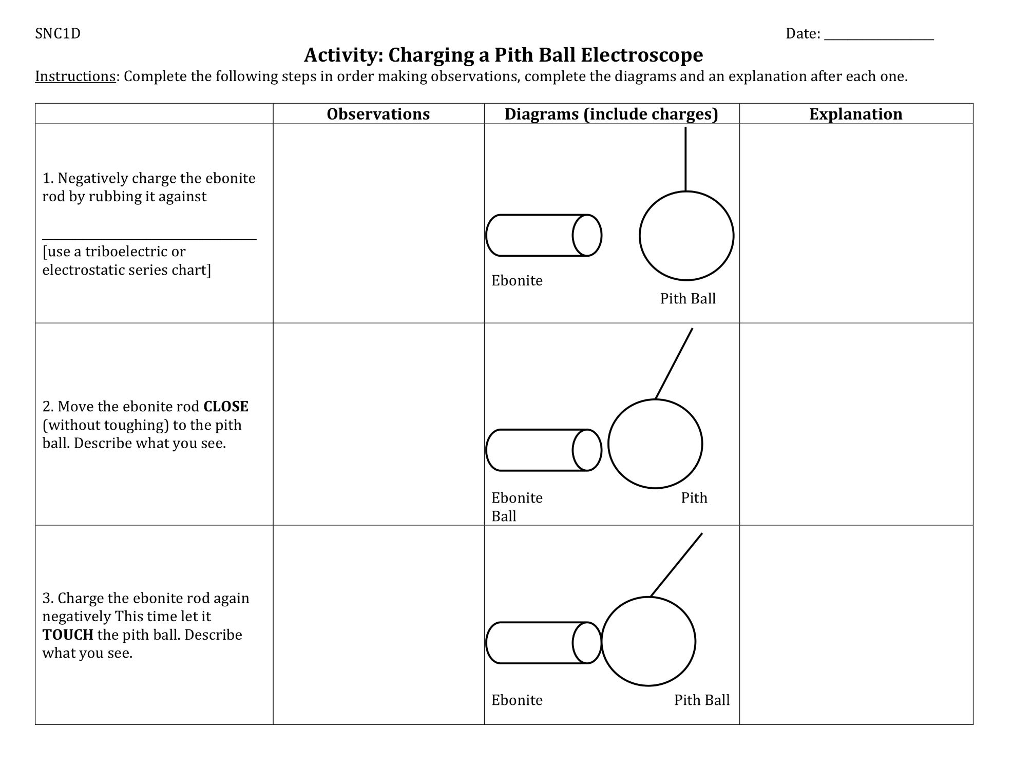 Charging A Pith Ball Electroscope Activity Thursday February 21 2019 Activities Ball Observation