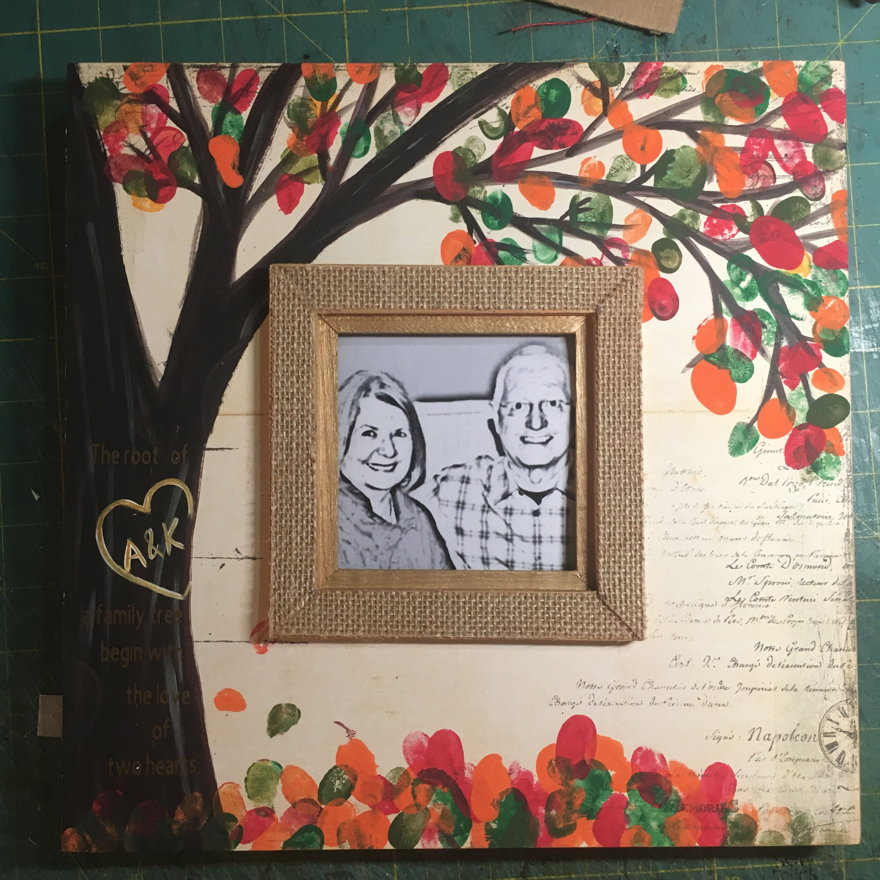 Anniversary gift for parentsinlaw. The leaves are kids