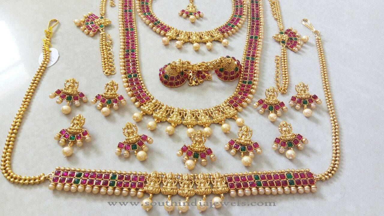 Imitation Kemp Bridal Jewellery Sets South India Jewels Indian Wedding Jewelry Sets Jewelry Set Design Bridal Jewelry Collection