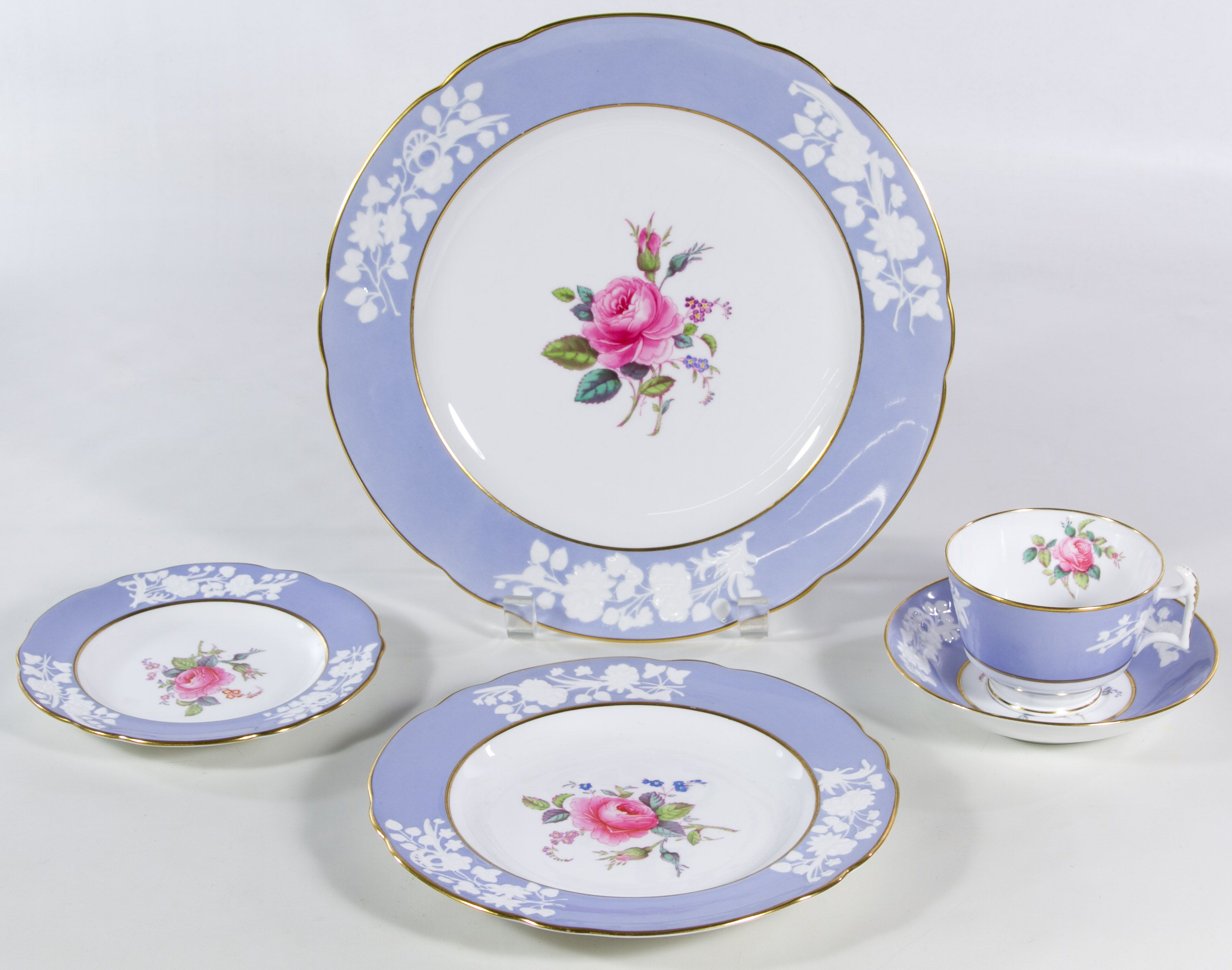 """Lot 400: Copeland Spode """"Maritime Rose"""" China Service; Including (12) dinner plates, (8) bread plates, (8) salad plates, (15) cups and (20) saucers"""