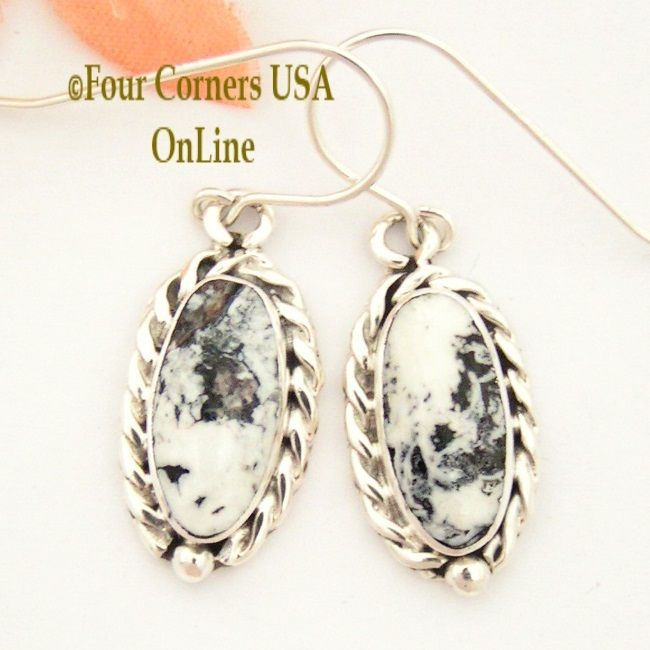 Four Corners USA Online - White Buffalo Turquoise Sterling Earrings Navajo Artisan Barbara Hemstreet  NAER-1504, $110.00 (http://stores.fourcornersusaonline.com/white-buffalo-turquoise-sterling-earrings-navajo-artisan-barbara-hemstreet-naer-1504/)