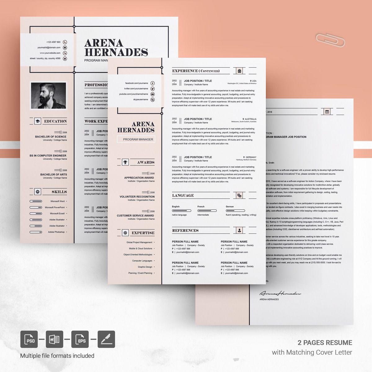 Arena Resume Template | Art Design Inspiration Architecture | Modern ...