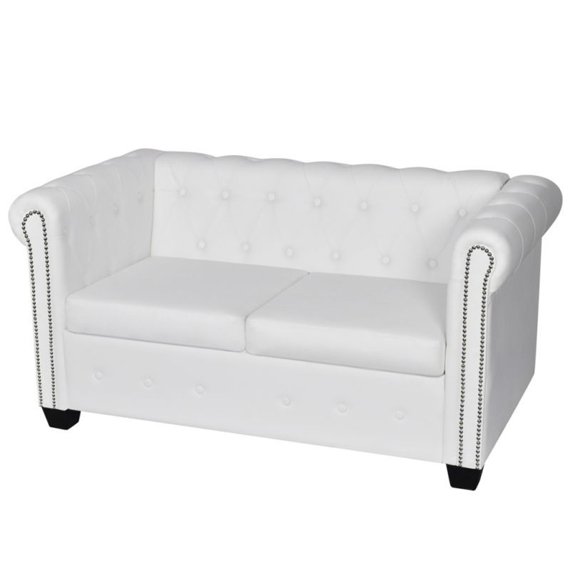 Super White Chesterfield Leather Sofa 2 Seater Lounge Bed Suite Pabps2019 Chair Design Images Pabps2019Com