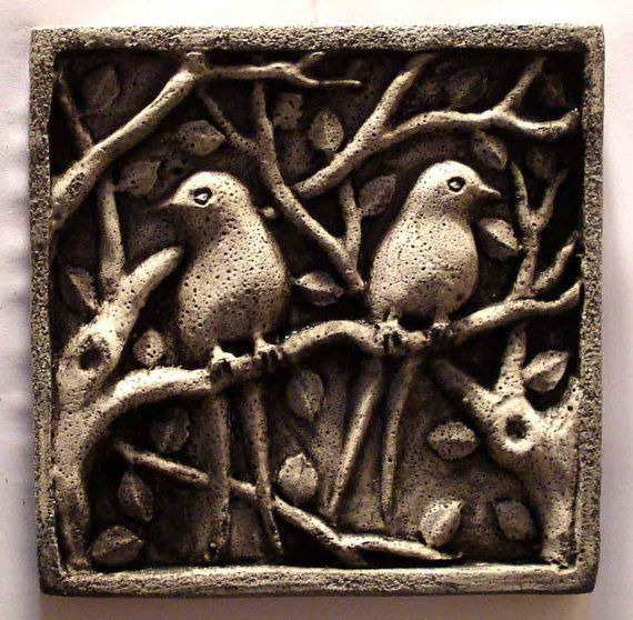 Garden Ornaments Hand Carved Decorative Stone Love Birds Wall Plaques