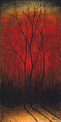 Black Trees on Red by Robert Cook