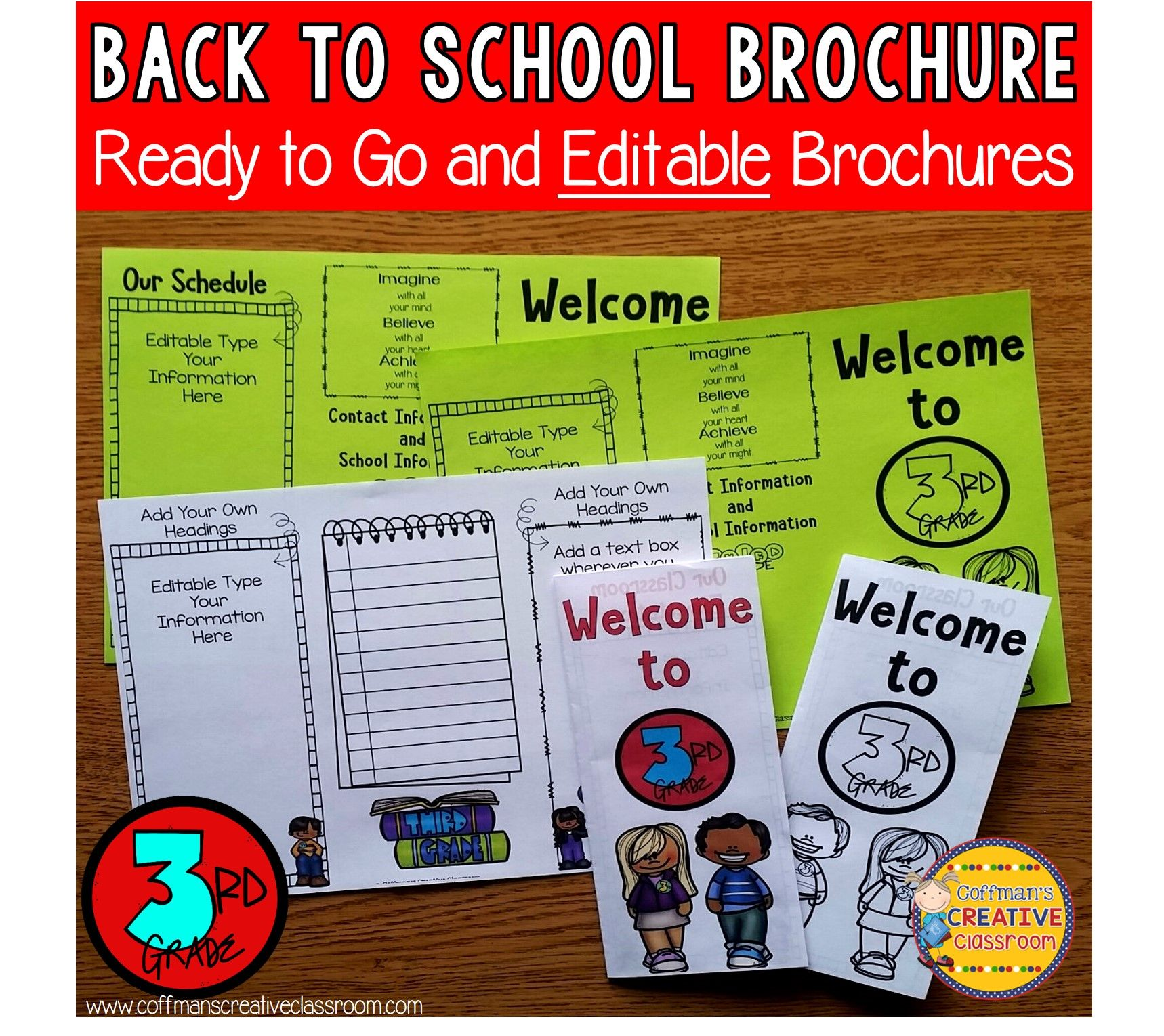 Back to school editable brochure 3rd grade school