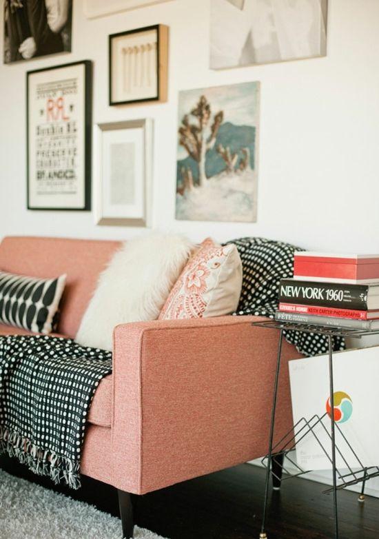 Ideen weißer Kopfkissen Design grau Fotowand Wohnzimmer