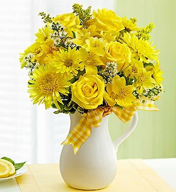sunshine yellow roses, cremones, alstroemeria and daisy poms, arranged in a white ceramic pitcher | from 1-800-Flowers