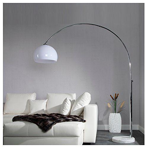 Original Retro Design Bogenlampe Big Bow Weiss Hohenverstellbar Xtf
