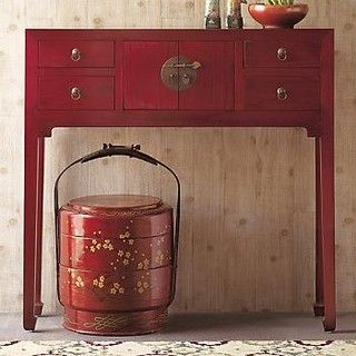 Red Lacquer Console Table   Asian   Side Tables And Accent Tables     By  Gumps